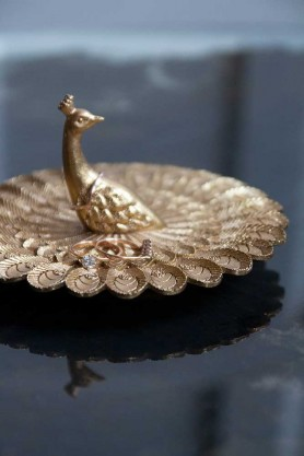 Lifestyle image of the Pretty Peacock Jewellery Dish & Ring Holder