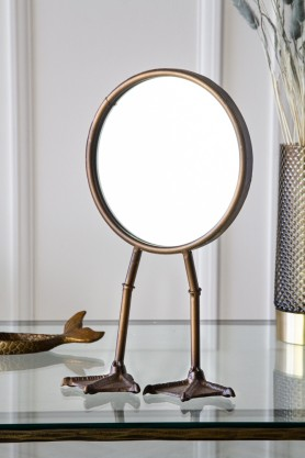 Lifestyle image of the Bronze Bird Feet Table/Vanity Mirror