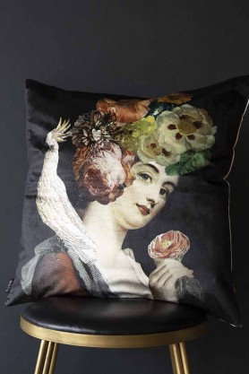 Quirky Lady With Floral Headdress & Cockatoo Black Velvet Cushion