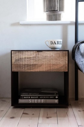Lifestyle image of the Industrial Style Mango Wood Bedside Table