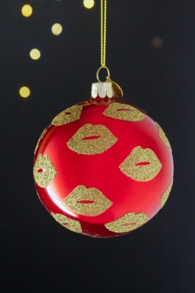 Image of the Red Christmas Bauble with Gold Glitter Lips