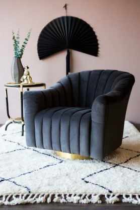 Ribbed Charcoal Velvet Tub Armchair in Pink Living Room Setting