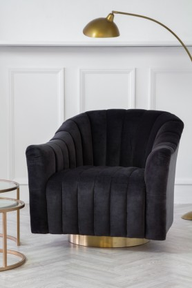 Slightly angled image of the Ribbed Charcoal Velvet Tub Armchair