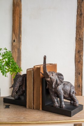 Right angled lifestyle image of the Rust Effect Elephant Bookends