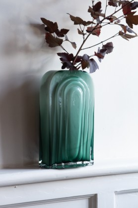 Lifestyle image of the Sea Green Glass Art Nouveau Vase