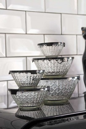 Image showing the Set Of 5 Glass Bowls With Black Lids