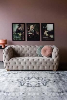 Lifestyle image of the Stone Grey Suede Buttoned 2 Seater Sofa