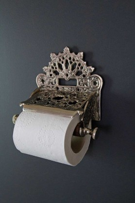 Lifestyle image of the Vintage Style Ornate Toilet Roll Holder