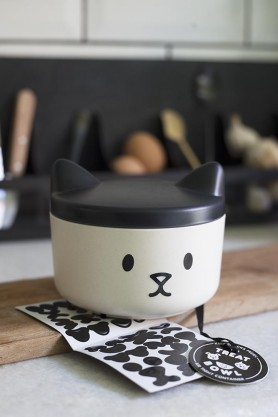 Lifestyle image of the Customisable Pussy Cat Pet Treat Container with customisation