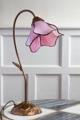 Image of the Art Deco Style Flower Desk Lamp With Leaded Style Pink Shade