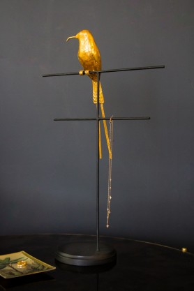 Image of the Two-Tier Jewellery Stand with Gold Perching Bird