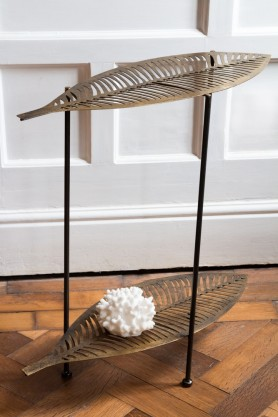 Side angle lifestyle image of the Two-Tier Leaf Side Table