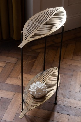 Above angle lifestyle image of the Two-Tier Leaf Side Table
