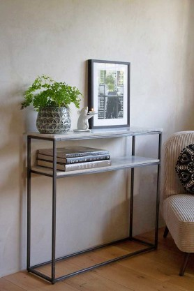 Lifestyle image of the Two-Tier Marble Shelf Console Table