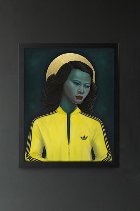 Image of the Ross Muir Limited Edition Green Lady Art Print in a black frame