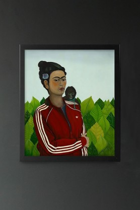 Image of the Ross Muir Limited Edition Monkey Business Art Print in a black frame
