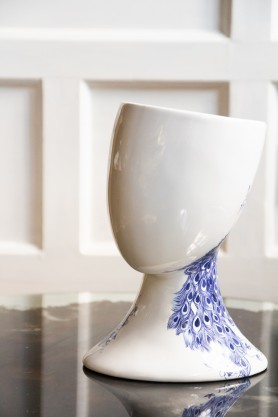 Front on image of the White & Blue Ceramic Oriental Peacock Vase