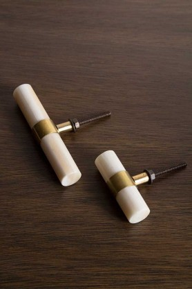 Image of both the Small & the Large Bone & Brass Drawer Handle / Door Knob