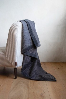 Luxurious Waffle Throw with Velvet Edging In Charcoal Grey
