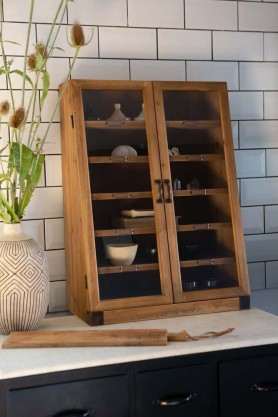 Lifestyle image of the Wooden Antique-Style Library Cabinet