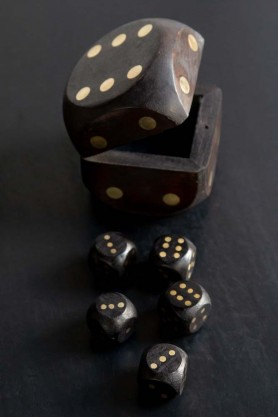 Image of the Quality Wooden Dice Box With Five Dice out of the box