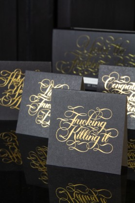 Image of the black versions of the You're The Fucking Best Mini Notecards