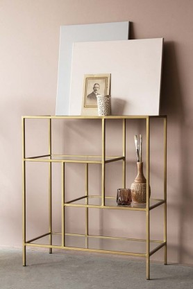 Antique Brass & Glass 4-Tier Shelf Unit
