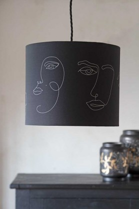 Lifestyle image of the Linea Face Design Pendant & Lamp Shade - Black With Gold Interior on a ceiling light