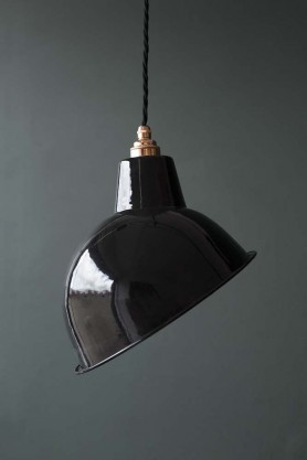 Angled Cloche Enamel Shade - Black