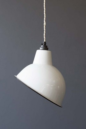 Angled Cloche Enamel Shade - White
