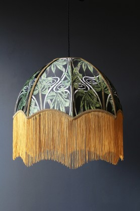 lifestyle image of Anna Hayman Designs DecoFabulous Green Dianne Pendant Shade with dark grey wall background