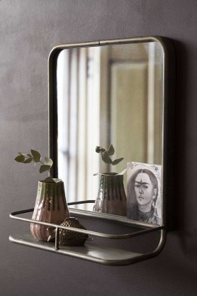Lifestyle image of the Antique Silver Almost Square Bathroom Mirror With Shelf