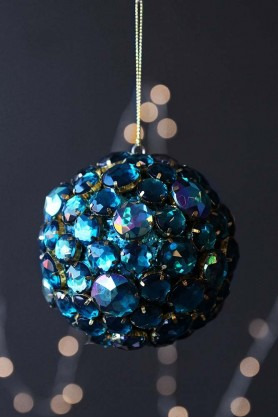 Image of the Large Aqua Jewel Bauble Hanging Decoration on a sparkly dark background
