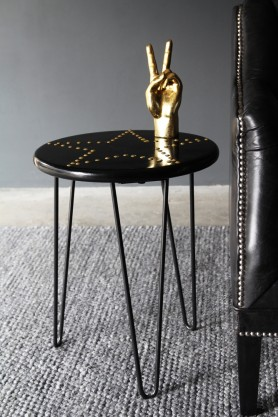 Black Gloss & Gold Star Studded Stool with Hairpin Legs