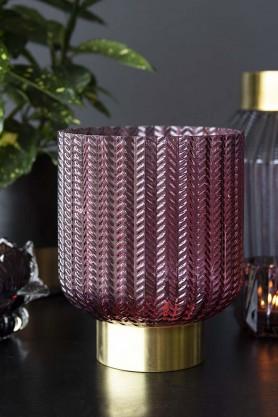 Berry Tinted Glass & Gold Chevron Vase