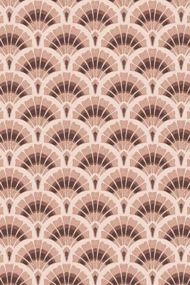 Swatch detail image of the Betsy Fan Ditsy Tobacco Wallpaper by Pearl Lowe