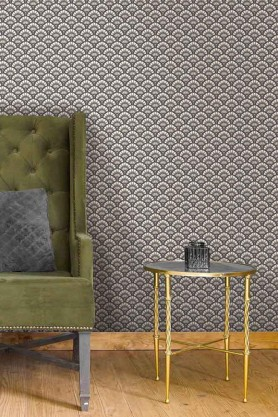 Lifestyle image of the Betsy Fan Ditsy Smoke Wallpaper by Pearl Lowe