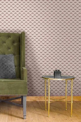 Lifestyle image of the Betsy Fan Ditsy Tobacco Wallpaper by Pearl Lowe