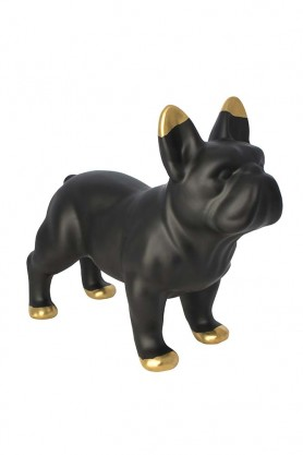 Side view image of the Black Ceramic French Bulldog Ornament on a white background