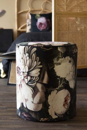 Lifestyle image of the Black Velvet Peony Pouffe Foot Stool