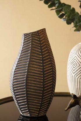 Lifestyle image of the Black African Ceramic Chevron Vase