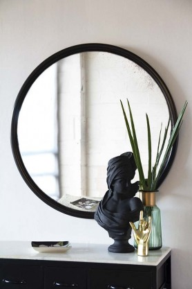 Round Antique Style Convex Mirror With Black Wood Surround