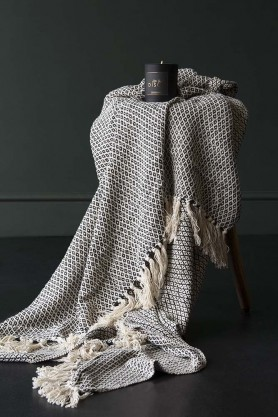 Black Diamond Weave Cotton Throw