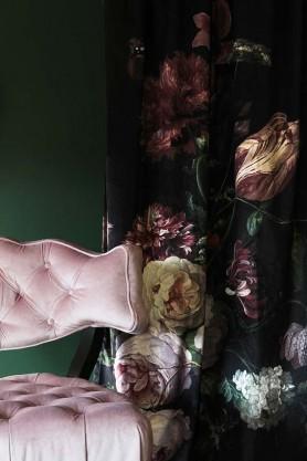 Black Floral Velvet Curtain