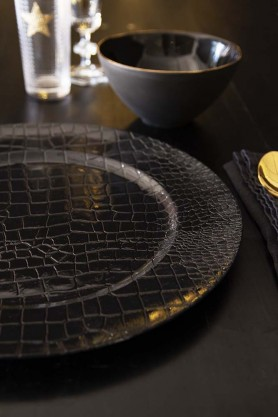 Decorative Black Snakeskin Charger Party Plate