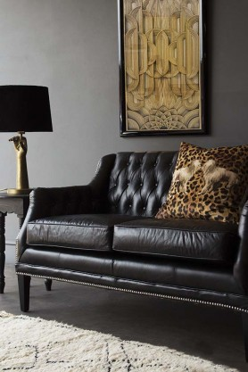 Black Leather Chesterfield Sofa - Small
