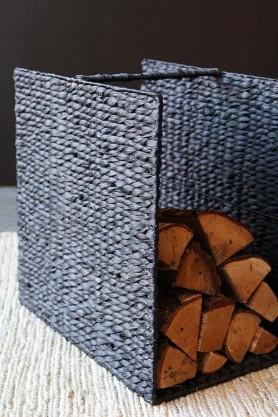 Black Water Hyacinth Storage Basket