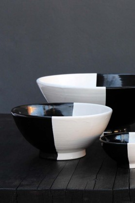 Handmade Moroccan Black & White Bowl - 18cm