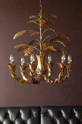 Lifestyle image of the Tropical Palm Leaf Chandelier