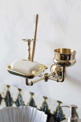 Lifestyle image of the Brass Trio 3-in-1 Bathroom Accessory